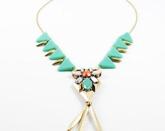 Boho statement necklace , statement necklace , trendy jewelry , wedding jewelry ,  bib necklace