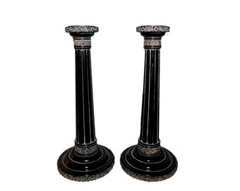 """Vintage 11"""" Tall Pair of NEOCLASSICAL Style Column Black Patina Resin CANDLESTICK HOLDERS"""
