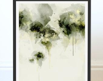 Green Abstract Print. Abstract Art. Green Art. Abstract Painting. Misty Morning. Abstract Art Print. Digital Art Wall Art. Wall Decor.