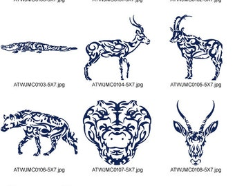 African-Tattoos-5x7 ( 10 Machine Embroidery Designs from ATW ) XYZ17B