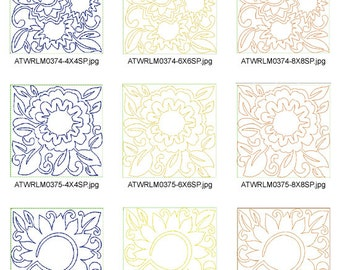 Lineart-Sunflower-Quilt-as-You-Go ( 14 Machine Embroidery Designs from ATW ) XYZ17B