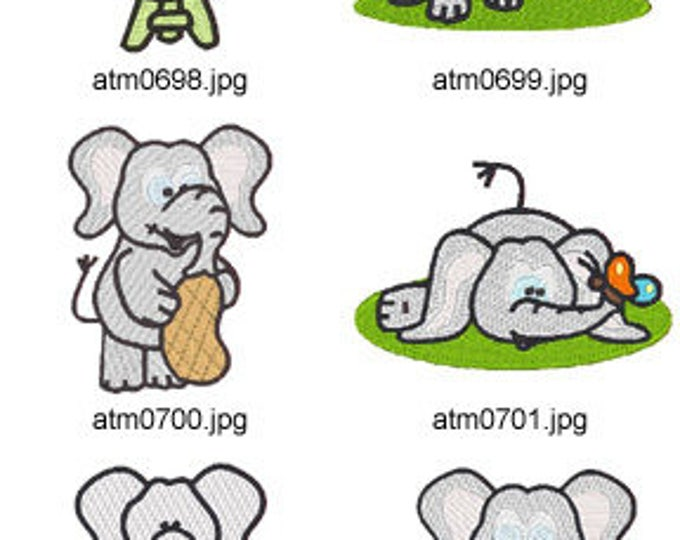 Elephants at play ( 10 Machine Embroidery Designs from ATW ) XYZ17C