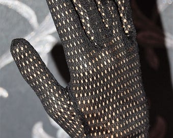 Vintage Black Lace Gloves Size 7