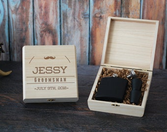 Groomsmen Gift Box, Personalized Flask Box, Custom Engraved Flask Box, Groomsman Proposal Gift Box, Mens Gift Box, Best Man Gift, Rustic Box