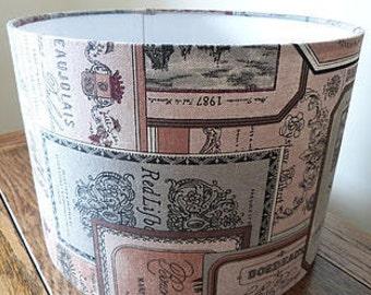 Vintage Wine Label Fabric Lamp Shade