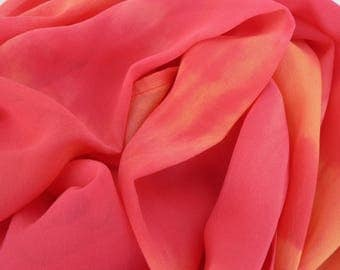 NEW! Pure Silk Georgette Scarf - 'Sunrise Rose' - Handmade and Hand dyed