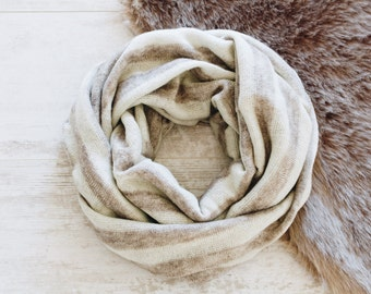 Warm Winter Scarf / Wool Scarf / Cowl Scarf / Striped Infinity Scarf / Womens Scarves / Gifts for Mom / Cream Scarf / Light Brown Scarf
