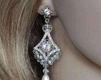 Vintage Inspired Art Deco Crystal Rhinestone and Pearl Dangle Bridal Earrings, Bridal, Wedding (Pearl-185)