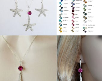 Choose Your Colour -- Starfish Crystal Necklace & Earrings Set With Accent Colour, Bridal, Destination or Beach Wedding (Sparkle-2653)