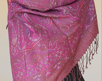 Plum Wool Wrap Plum Cashmere Shawl Plum Pashmina Scarf Paisley Wedding Shawl Plum Prom Shawl Bridesmaids Shawl Bridal Boho Turkish Oversize