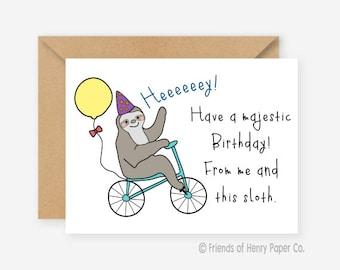sloth card  etsy, Birthday card