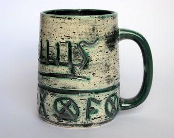 Mid Century / Arol / Norway / Art Pottery / Vintage / Stein / Mug / Tankard / Viking / Scandinavian / Artist Signed / Studio Art / Runic
