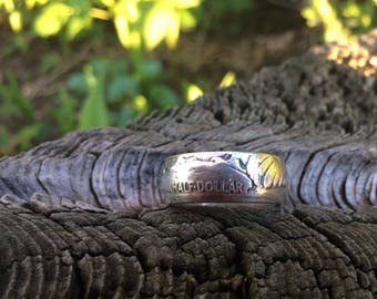 Silver walking liberty half dollar ring