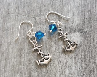 Silver Anchor Earrings - Nautical Jewelry - Silver Earrings with Swarovski Crystals - Handmade Beaded Earrings by LittleMillieShop