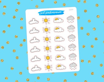 Weather Doodle Planner Stickers (D059)