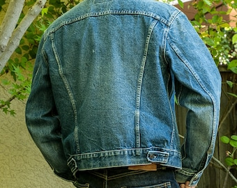 Vintage Levis Jean Jacket, 70's Denim Trucker Jacket Medium 42 USA