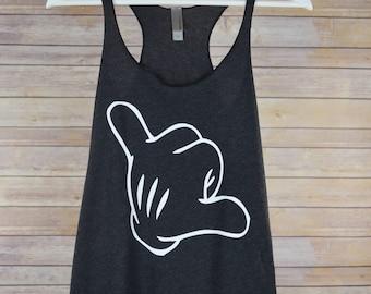 Mickey Hang Loose Tank Top: Women's Disney Mickey Mouse Glove Shaka Sign Hand Racerback Shirt- 9 Colors Available