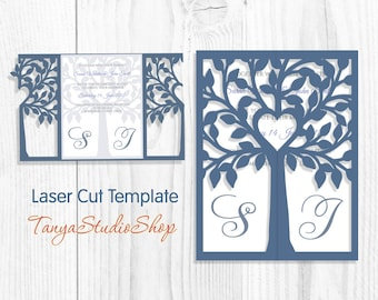 Wedding invitation - SVG, DXF, ai, CRD, eps, png - Tree Wedding Invitation - Laser Cut - Silhouette Cameo - Instant Download013