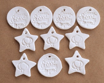 Happy birthday clay gift tags, balloon gift tags, 10 small tags, tiny tags party, white clay tags, star-shaped tags, party favor tags, stars