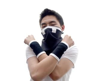 POKEMON Sun and Moon Team Skull cosplay gloves, Team Skull Bandana, Team Skull mask, Team Skull arm bands