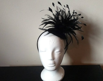 Black feather fascinator, black wedding fascinator, derby fascinator, large fascinator, fascinator with feathers, flower fascinator