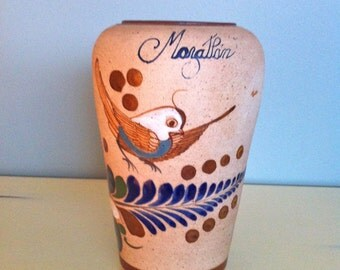 Mexican Tonala Pottery Vase w Flying Bird/Tonala Pottery/Mexican Pottery/Earthen ware pottery/Clay pottery vase/Mazatlan Pottery Vase/Vase