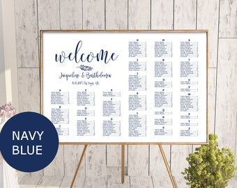 Navy Blue Wedding alphabetical seating chart template, printable seating chart, alphabetical seating chart, editable seating plan