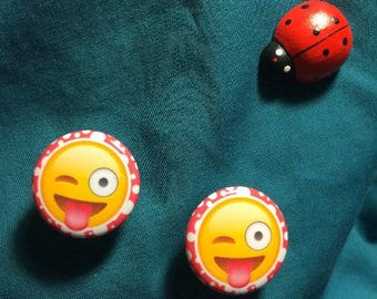 Badge Type EMOJI Stuck-out Tongue & Winking Eye Emotion Clog Shoe Charms