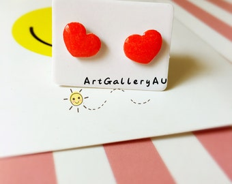 Kawaii Heart Earrings, Cute Red Heart Studs, Handmade Stud Earrings, Valentines Day, Gift for Her,gift for mum
