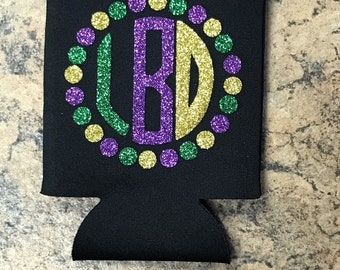 New Orleans can cooler, Mardi Gras Can Cooler, Mardi Gras, Initial Can Cooler, Glitter Can Cooler, Drink holder