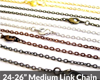 Necklace Chain, 24 inch, Bronze, Silver, Black, or Copper, Replacement Chain, Necklace Chains Bulk, Adjustable Length, Layering Necklace