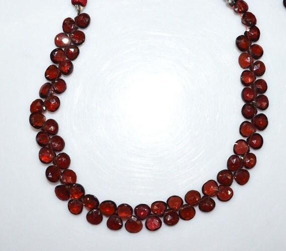 1 Strand Natural Mozambique Garnet Heart Shape Beads
