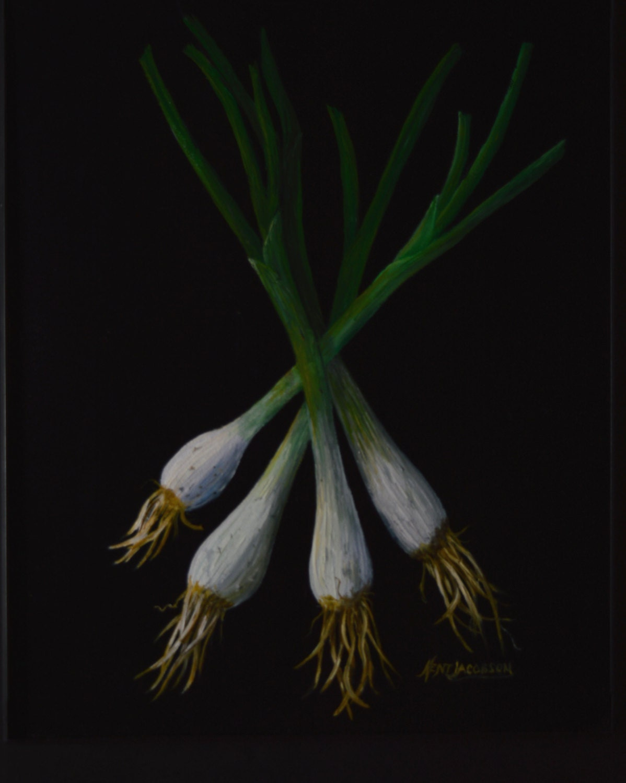 cebolla verde pinturas vegetales pinturas cocina bodegones