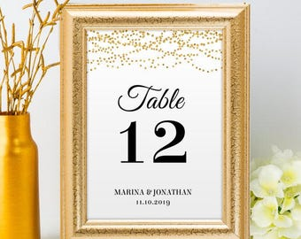 Printable Gold Foil Look Table Number Name Card Signs, Editable PDF, Instant Download