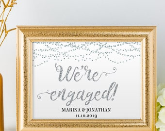 "Printable Silver Foil Look We're Engaged String Lights Sign, 2 Sizes: 14""x11"" and 10""x8"", Editable PDF, Instant Download"