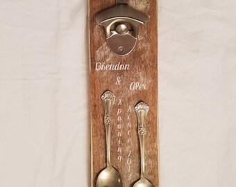 """Rustic """"Spooning Since"""" Customized Couples, Wedding, Engagement Bottle Opener"""