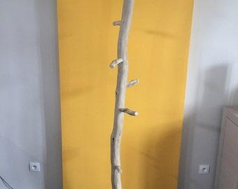 Coat rack wooden foot pulley.