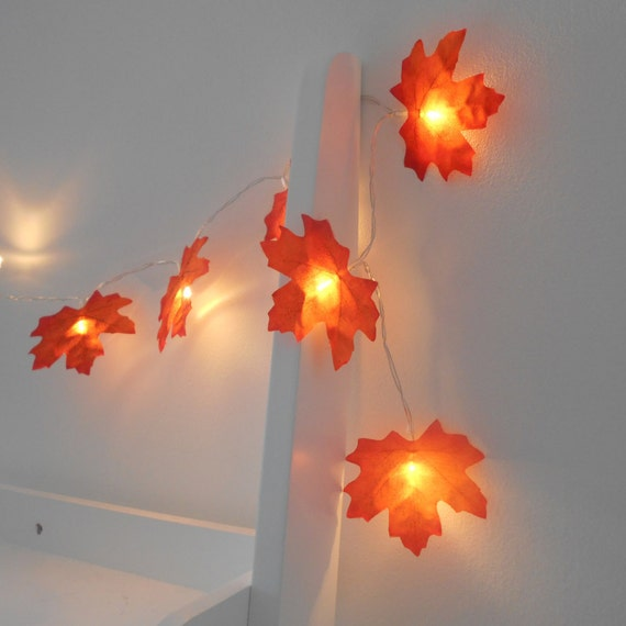 Autumn fairy lights string lights autumn leaves by