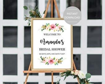 Bridal Shower Welcome Sign, Bridal Shower Sign Printable, Bridal Shower Sign Template, Editable Bridal Shower Sign, Floral Bridal Shower