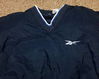 Vintage Reebok Pull Over V Neck Windbreaker Jacket size XL