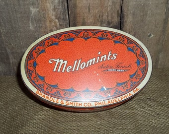 Vintage Mellomints Satin Finish One Pound Candy Tin 1930s