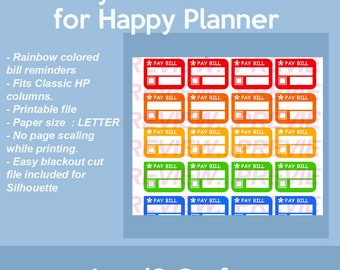 Pay Bill stickers, Bill Reminders for Classic Happy Planner