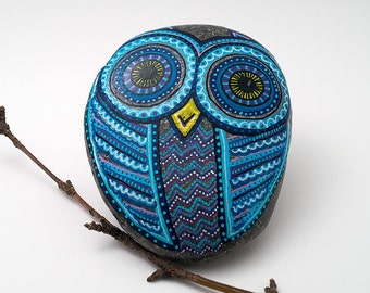 Blue Owl stone | hand painted stone - one of a kind | owl paperweight
