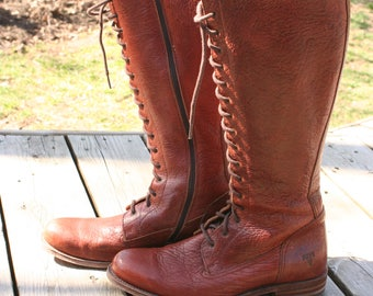 genuine FRYE women's tall leather lace-up boots
