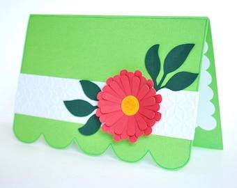 Flower Greeting Card - Feminine Note Card - Blank Inside Friendship Card - Just Because Card