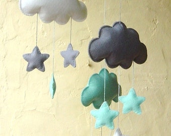 Mint, grey and white clouds and stars mobile