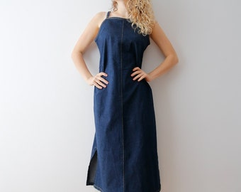 Vintage Dark Blue Dress Denim Dress Midi Dress Jumper Dress Sleeveless Dress Hipster Dress Medium Size Dress Summer Dress Sarafan Dress