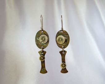 Item 4200-17 Handcrafted Sterling and Copper Textured Lightweight Dangle Earrings