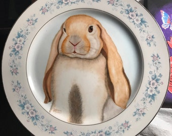 Hand painted Cute floppy earred tan  bunny plate