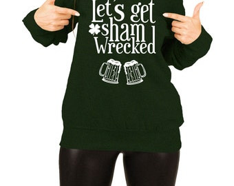 St Patricks Day Clothing Beer Drinker St Patties Day Tops Beer Sweater Let's Get Shamwrecked Off The Shoulder Slouchy Sweatshirt FAT-649